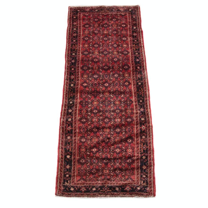 3'10 x 10'3 Hand-Knotted Persian Hamadan Wool Long Rug