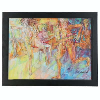 Richard C. Karwoski Figural Abstract Pastel Drawing, 1962