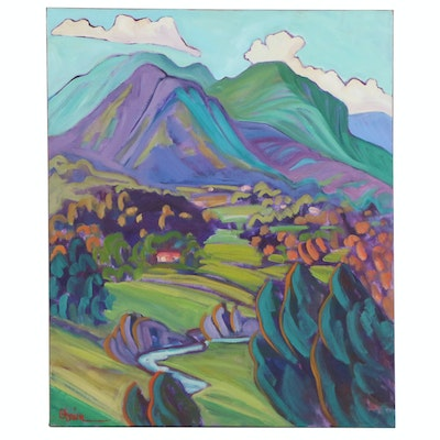"Annie O'Brien Gonzales Oil Painting ""Valdez Valley - Blue/Green,"" 21st Century"