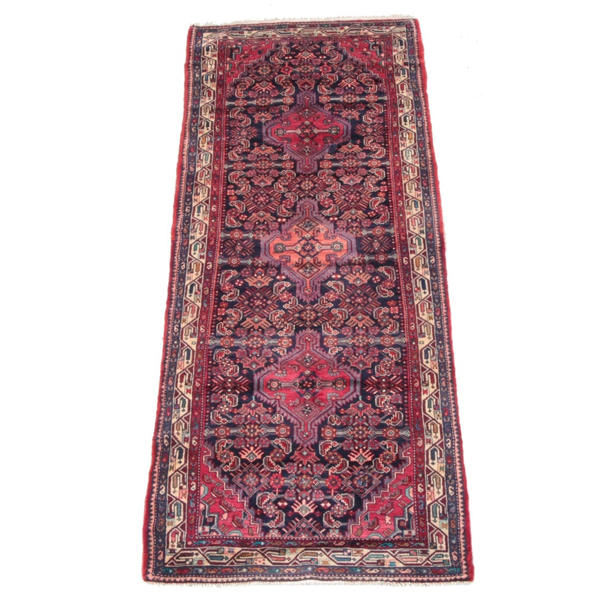 3'9 x 9'6 Hand-Knotted Persian Gogarjin Wool Long Rug