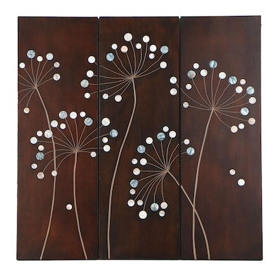 Tandi Venter Abstract Floral Wood Carved Triptych, 21st Century