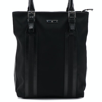 Gucci Black Canvas and Leather Shoulder Tote