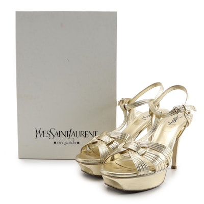 Yves Saint Laurent Tribute 75 Platform Sandals in Gold Metallic Leather