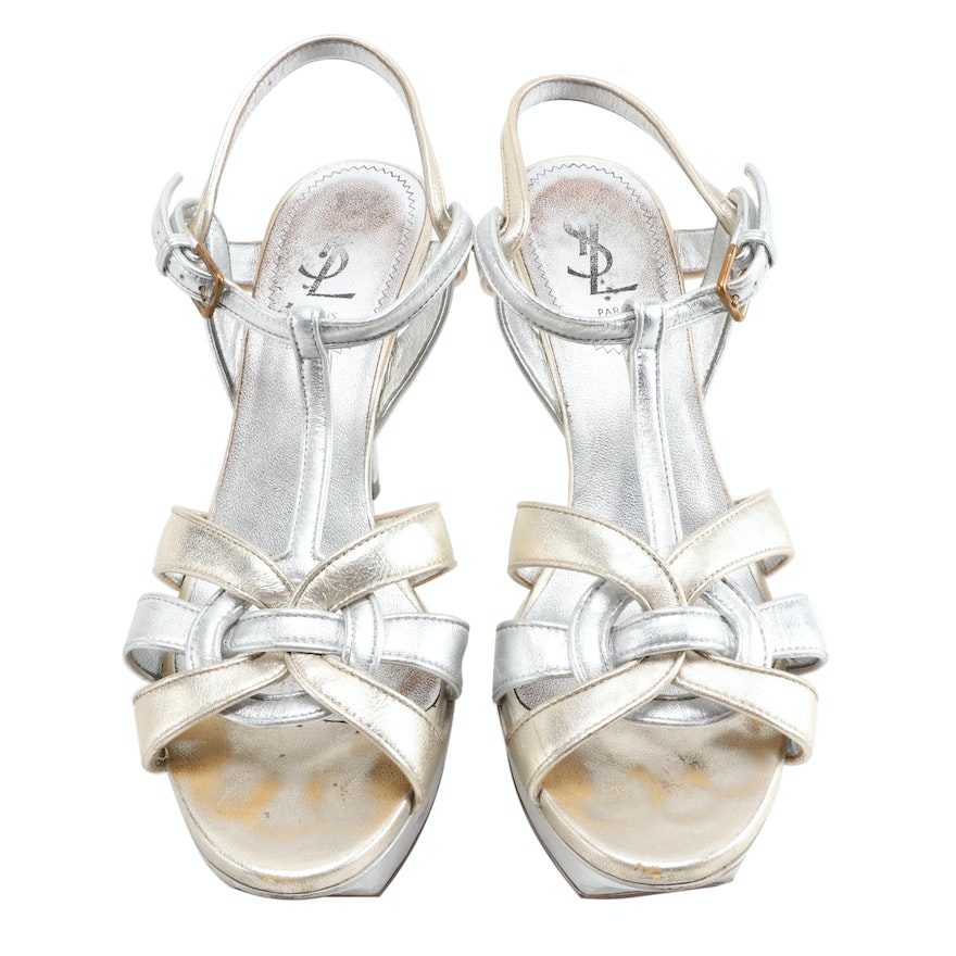 Yves Saint Laurent Tribute 75 Platform Sandals in Silver/Gold Metallic Leather
