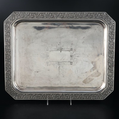 Etched Silver Plate Serving Tray with Floral Motif Trim