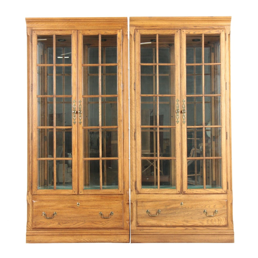 Pair of Thomasville Oak Display Cabinets, Late 20th Century