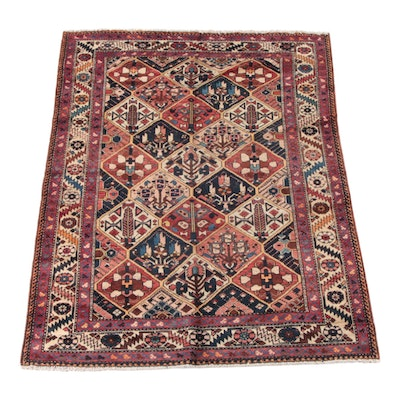 5'6 x 6'11 Hand-Knotted Persian Bakhtiari Wool Rug