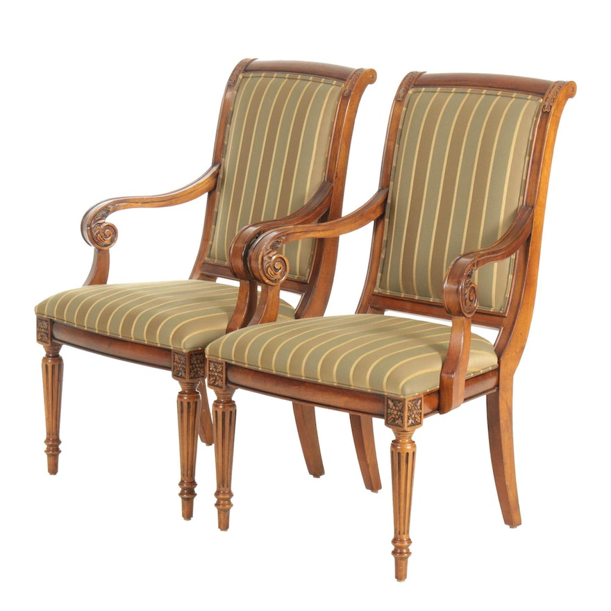 """Ethan Allen """"Adison"""" Striped Upholstered Armchairs, Late 20th Century"""