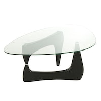 Modernist Isamu Noguchi Style Glass Top Coffee Table, Late 20th Century