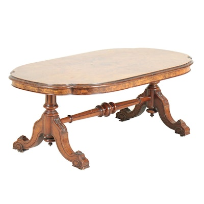 Victorian Style Walnut and Circassian Walnut Coffee Table