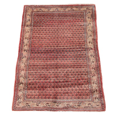 4'4 x 6'6 Hand-Knotted Persian Mir Serabend Wool Long Rug