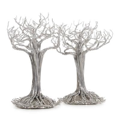 Pair of Devin Mack Floor Standing Aluminum Wire Tree Sculptural Figures