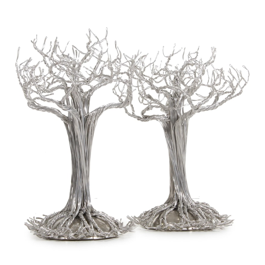 Pair of Devin Mack Floor Standing Aluminum Wire Tree Sculptural Figures