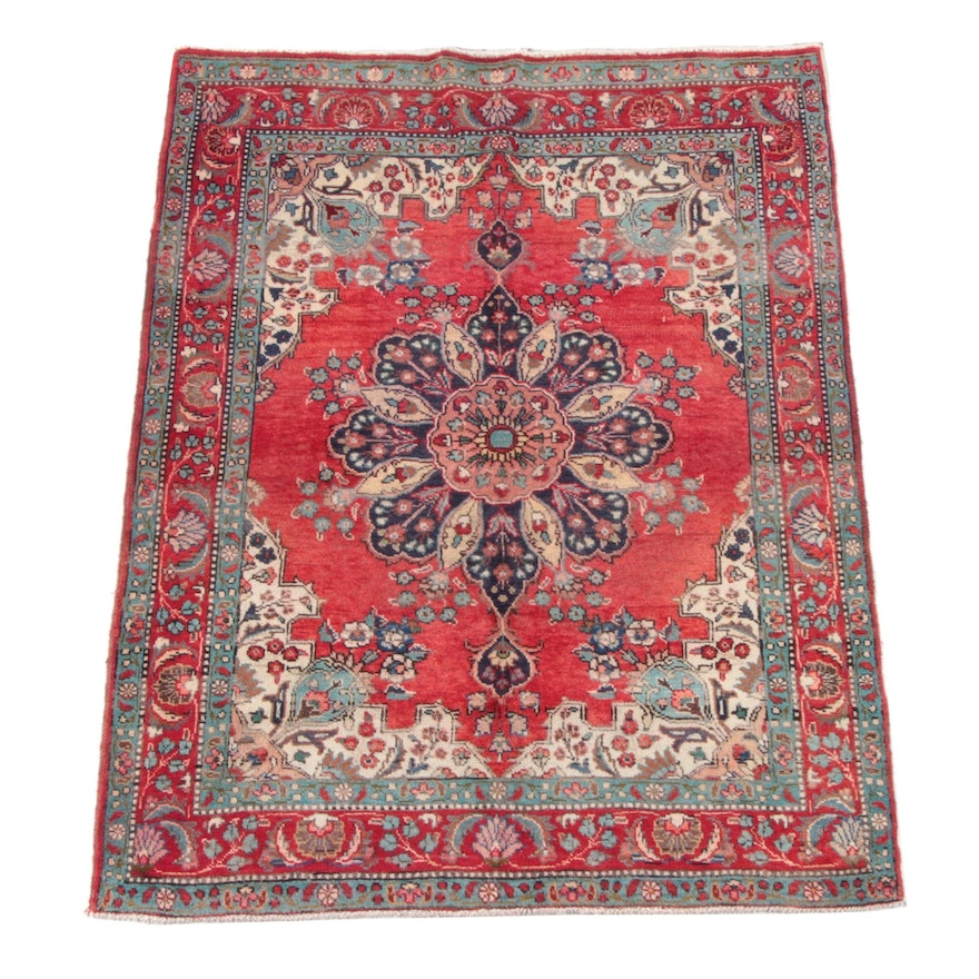 4'6 x 6'1 Hand-Knotted Persian Yazd Wool Rug