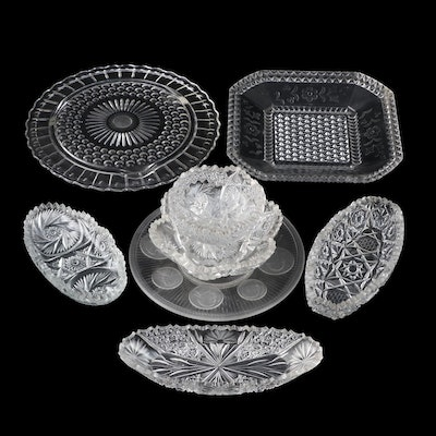 American Brilliant Style Pressed Glass Dishes