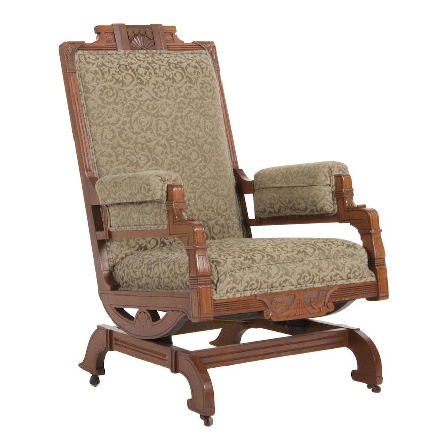 Late Victorian Eastlake Brocade Upholstered Platform Rocker Chair