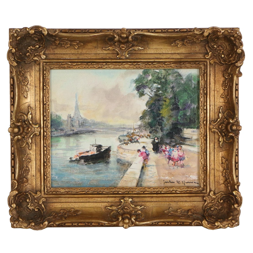 Jules Henri Oil Painting of Parisian Scene