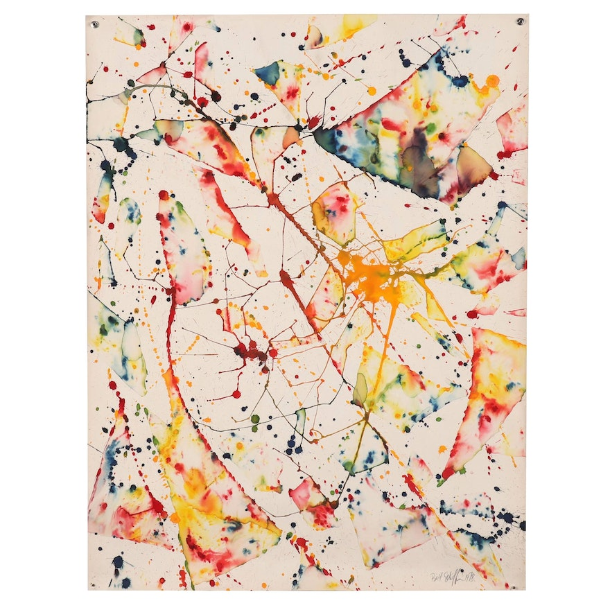 Bill Schiffer Abstract Watercolor Painting, 1978