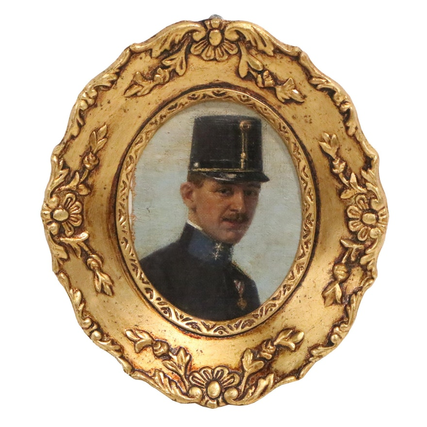 Oil Portrait of Austrian Officer, Early 20th Century