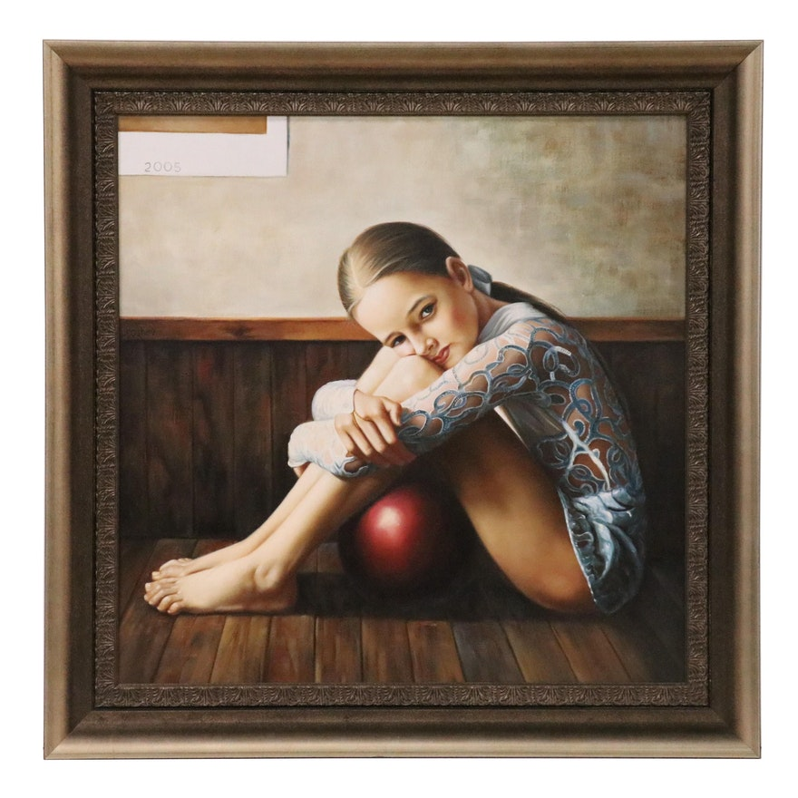 Slava Groshev Realist Portrait of a Young Gymnast Oil Painting, 2005