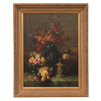 Floral Still Life Copy Oil Painting after Jean Baptiste Robie, 21st Century