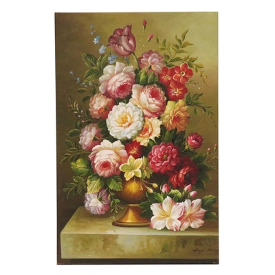 Still Life with Carnations and Roses Oil Painting, 21st Century