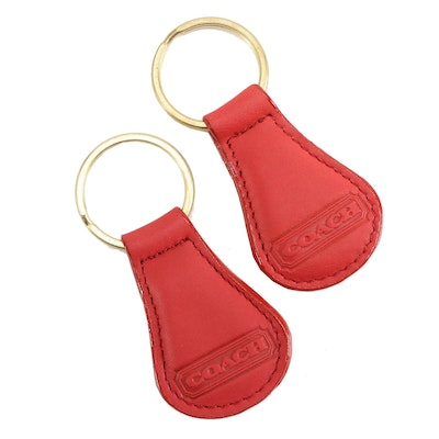 Coach Red Leather Key Rings