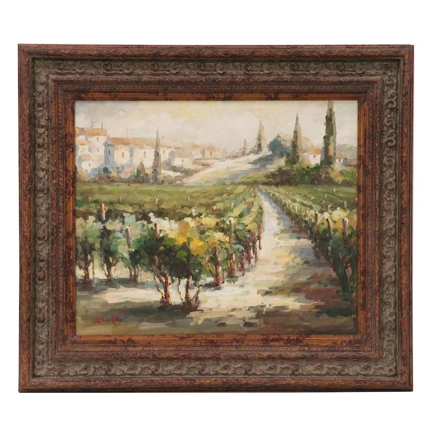 Impressionist Vineyard Landscape Oil Painting, 21st Century