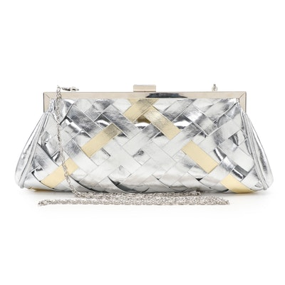 Lulu Townsend Metallic Leather Basket Weave Two-Way Evening Bag