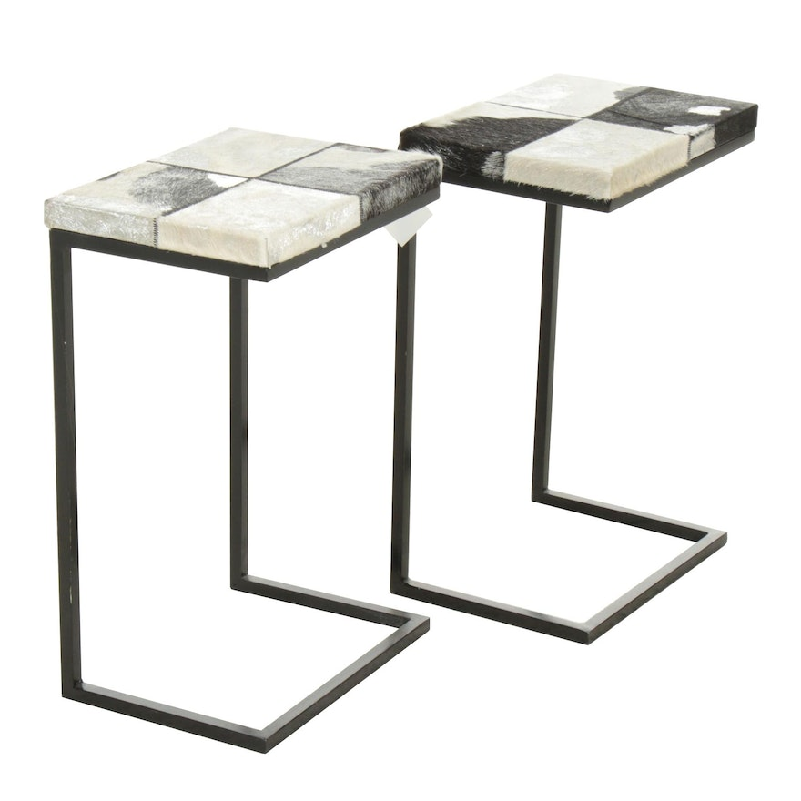 Modernist Style Faux Fur Barstools, Pair