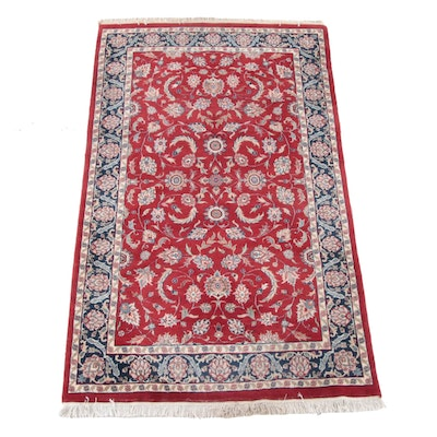 4'11 x 9'1 Hand-Knotted Indian Mahal Wool Rug