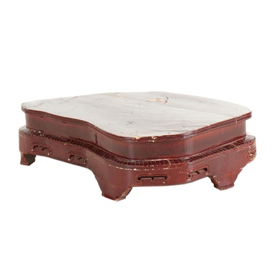 Chinese Red Lacquered Short Side Table, Mid-20th Century