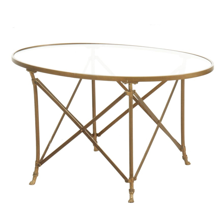 Modernist Style Glass Top Brass Coffee Table, 20th Century