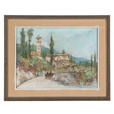 Hansegger Embellished Offset Lithograph of an Italian Landscape