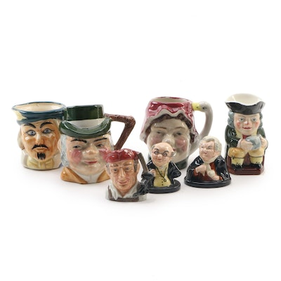 Porcelain Character  and Toby Jugs Including Royal Doulton and Artone