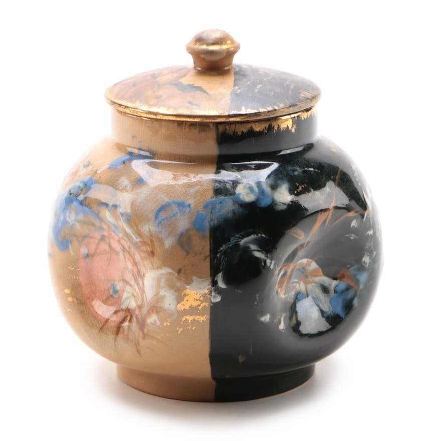 Albert Humphreys for Rookwood Pottery Pinched Side Tea Jar, 1882