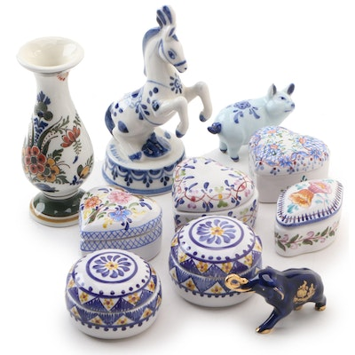 Hand-Painted Porcelain Trinket Boxes and Figurines Including Limoges Castel