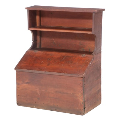 Primitive Pine Slant Top Side Cupboard with Storage Bin