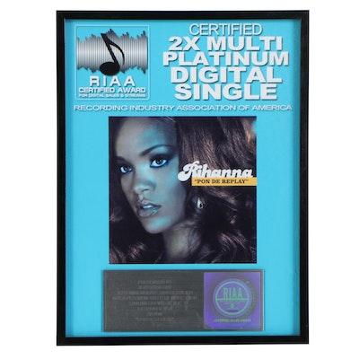 """RIAA Certified Multi-Platinum Award Plaque for Rihanna's """"Pon de Replay"""", 2012"""