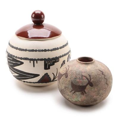 Z. Gibson Tewa-Hopi Pottery Jar with Southwestern Style Vase