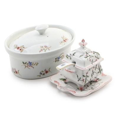 Cordon Bleu Ceramic Casserole Dish, Hand-Painted Sugar Bowl and Herend Spoon