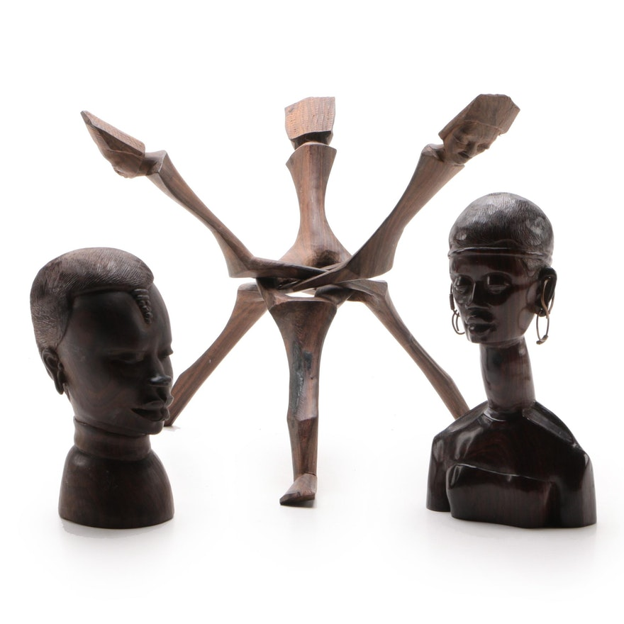East African Carved Wood Busts and Tripod Collapsible Stand