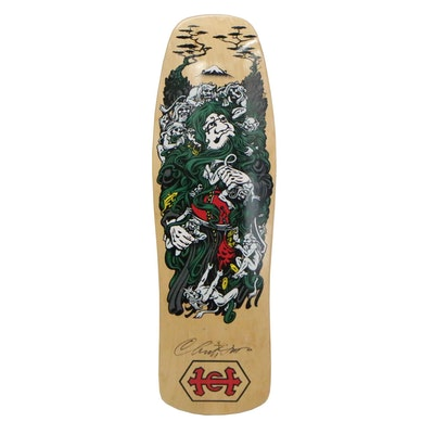 "Christian Hosoi Signed Santa Cruz Skateboard Deck with Jim Phillips Art ""Monk"""
