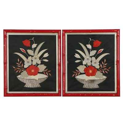 Hand Stitched Japanese Silk Embroidery Floral Panels, Mid-20th Century