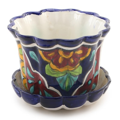 Ceramic Planter with Floral and Geometric Motif, 21st Century