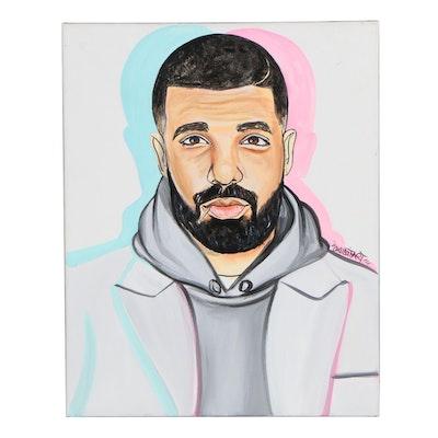 Pop Art Acrylic Painting Portrait of Drake, 21st Century