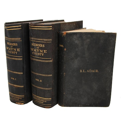 "Books on Indiana History Including ""Memoirs of Wayne County,"" Early 20th Century"