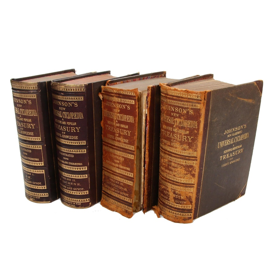 """New Universal Cyclopedia"" Complete Four-Volume Set, 1875–1878"
