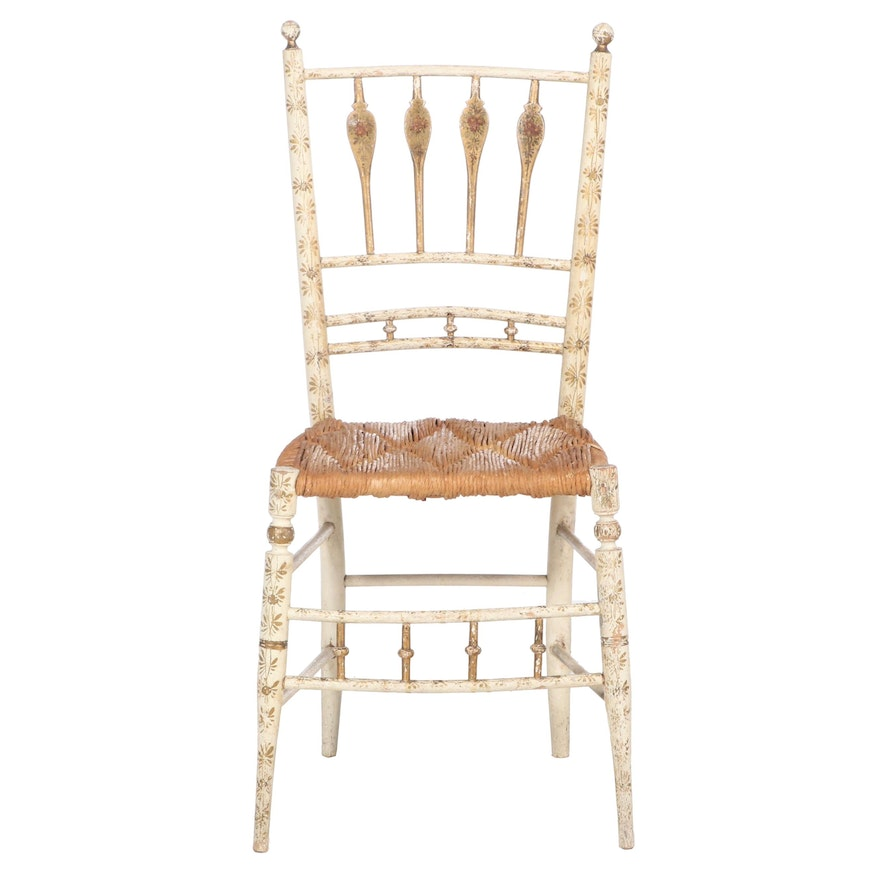 "Federal Paint-Decorated and Parcel-Gilt ""Fancy"" Side Chair, Early 19th Century"