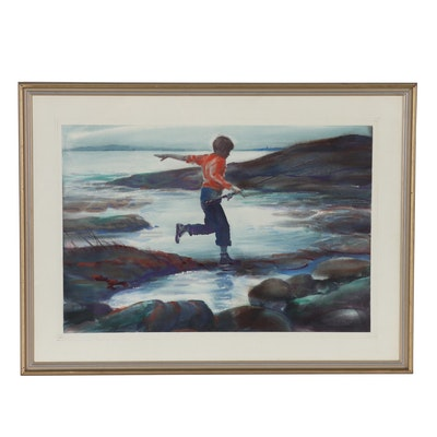 "William E. Fay Watercolor Painting ""Ebbtide"", 1962"